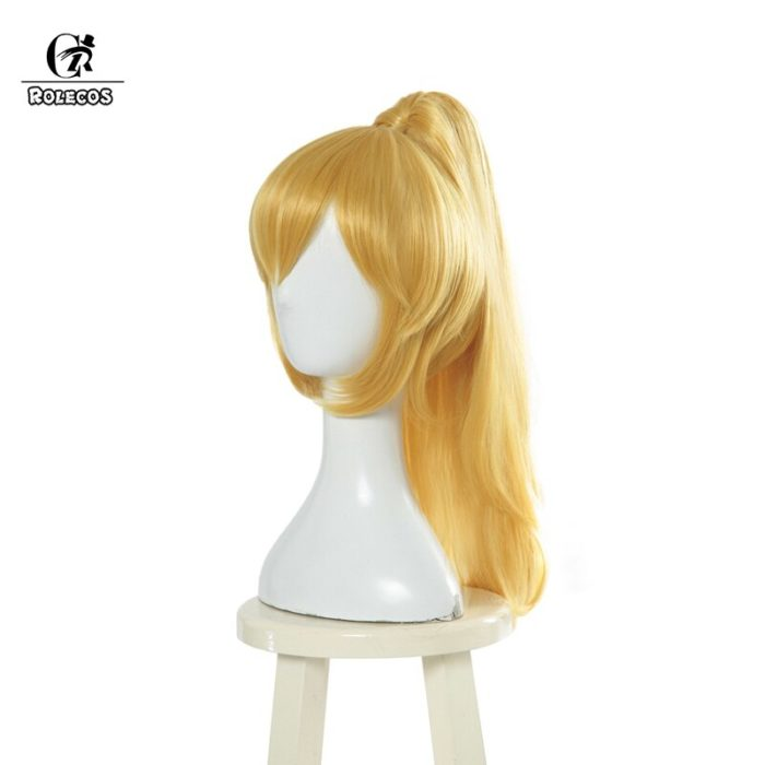 ROLECOS Bowsette Cosplay Headwear Princess Koopa Cosplay Hair Koop-hime Red Ponytail Women Hair Yellow Synthetic Hair 2