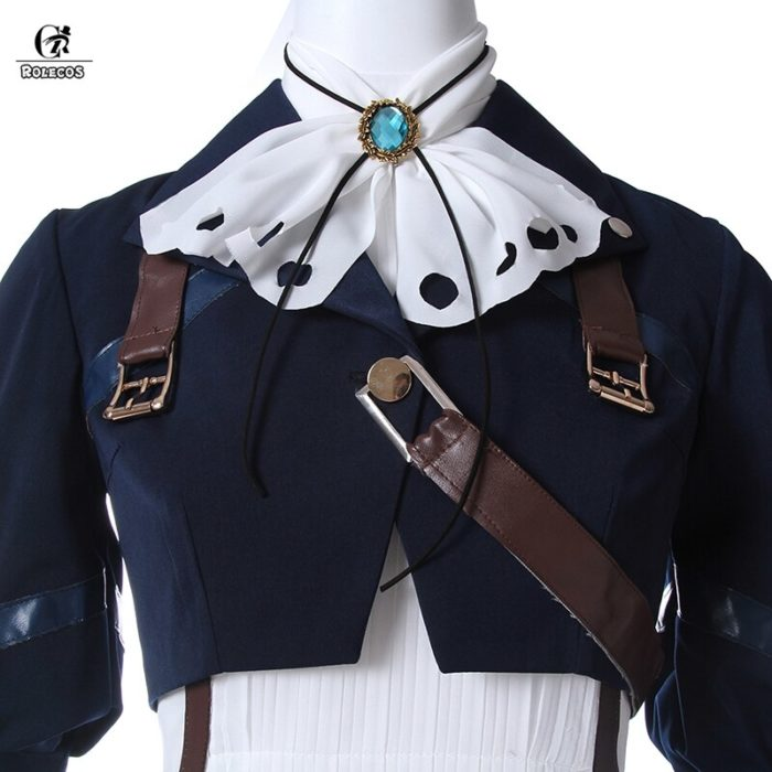 ROLECOS Violet Evergarden Cosplay Costume Anime Cosplay Violet Evergarden Costume for Women Halloween ( Top + Dress + Gloves ) 4