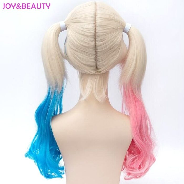 JOY&BEAUTY Hair Harley Quinn Cosplay Wig Styled Wavy Synthetic Ponytail Wig High Temperature Fiber Cos Wig Free Shipping 2