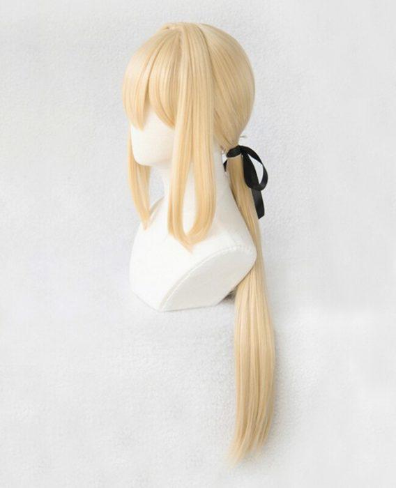 Violet Evergarden Ponytail Braid Buns Blonde Hair Heat Resistant Cosplay Costume Wig + Wig Cap + Ribbon 5