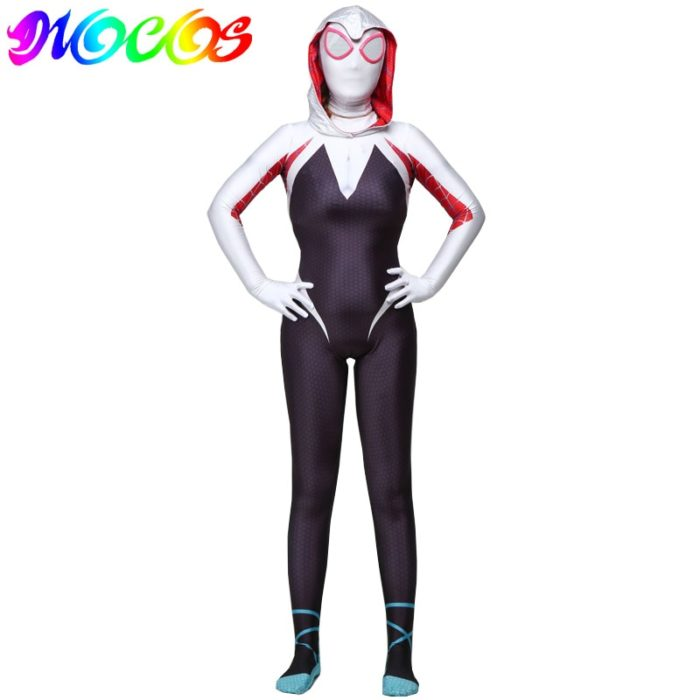 DIOCOS Spider Gwen Stacy Cosplay Costumes 3D Print Adult Kids Jumpsuits for Halloween Party 1