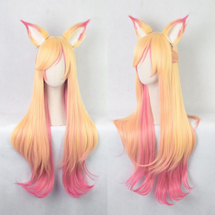100cm LOL Ahri Gumiho Wigs Star Guardian the Nine Tailed Fox Cosplay Costume Wig + Wig Cap + Ears 1
