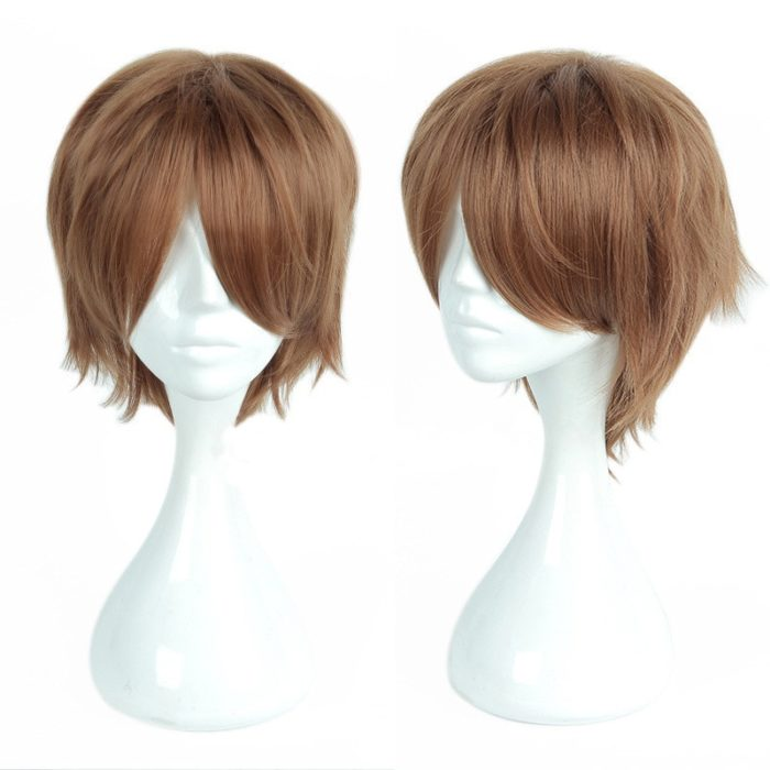 Anime Death Note Yagami Light Cos Wig Short Brown Heat Resistant Hair Pelucas Cosplay Costume Wigs + Wig Cap 1