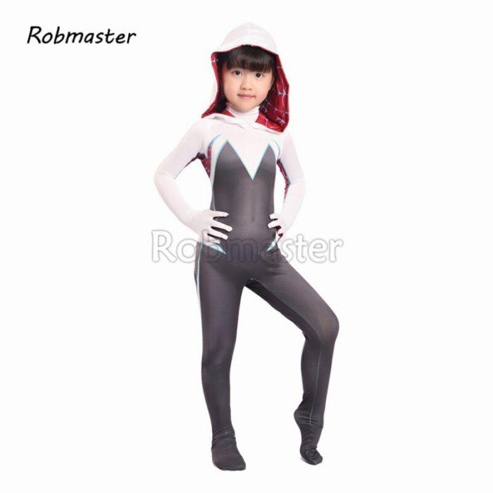 Kids Spider Gwen Spandex Zentai Gwen Costume for Halloween Girls Stacy Cosplay Spider Gwen Suit Anti-Venom Gwen Cloak Suit 2