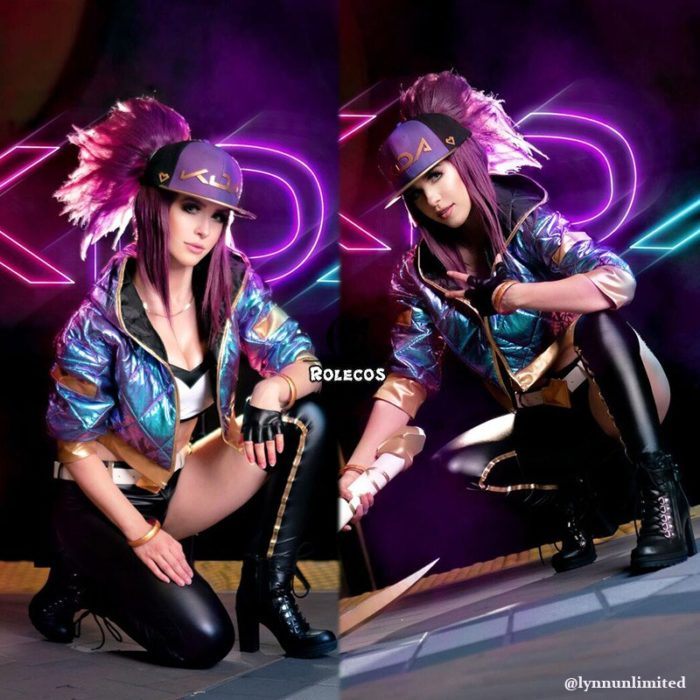 ROLECOS Game LOL KDA Akali Cosplay Costume Akali Cosplay Coat LOL KDA Cosplay Uniform Warm Winter Costume for Women 2