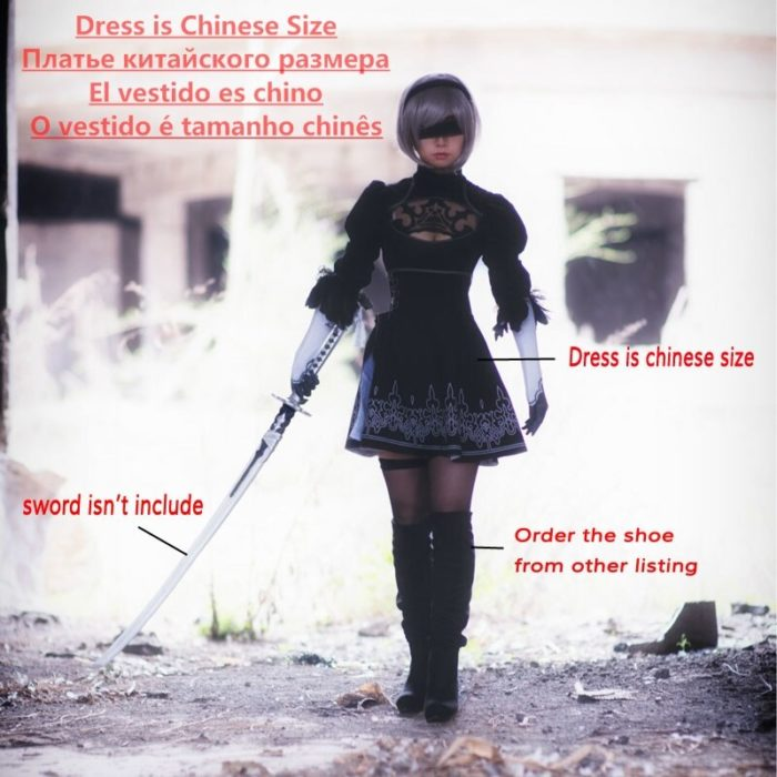 Chinese Size Nier Automata Yorha 2B Cosplay Suit Anime Women Outfit Disguise Costume Set Fancy Halloween Girls Party Black Dress 2