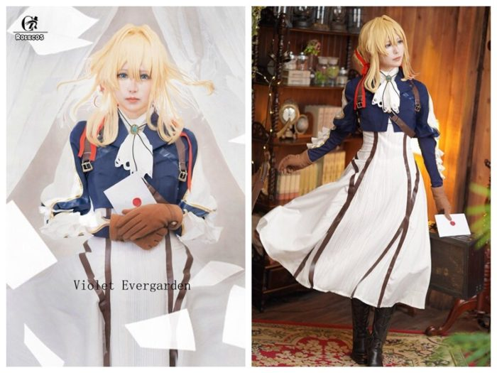 ROLECOS Violet Evergarden Cosplay Costume Anime Cosplay Violet Evergarden Costume for Women Halloween ( Top + Dress + Gloves ) 2