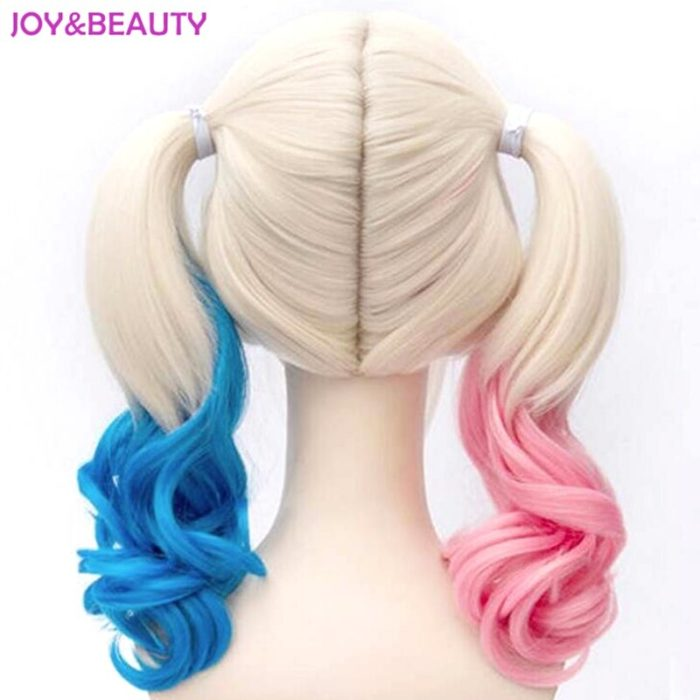 JOY&BEAUTY Hair Harley Quinn Cosplay Wig Styled Wavy Synthetic Ponytail Wig High Temperature Fiber Cos Wig Free Shipping 6