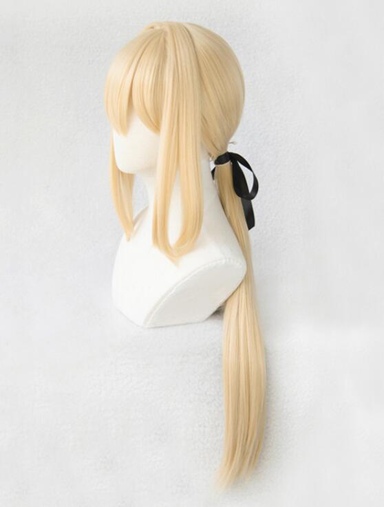 Violet Evergarden Ponytail Braid Buns Blonde Hair Heat Resistant Cosplay Costume Wig + Wig Cap + Ribbon 8