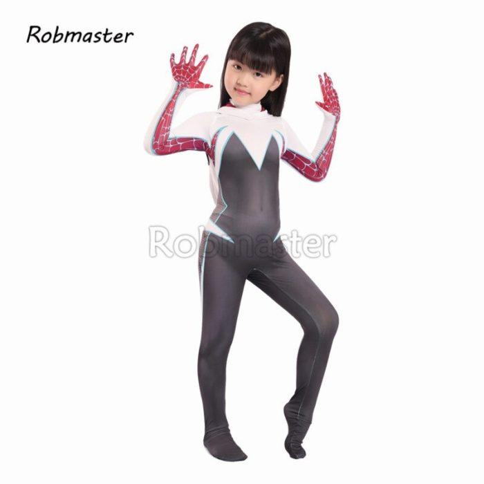 Kids Spider Gwen Spandex Zentai Gwen Costume for Halloween Girls Stacy Cosplay Spider Gwen Suit Anti-Venom Gwen Cloak Suit 3