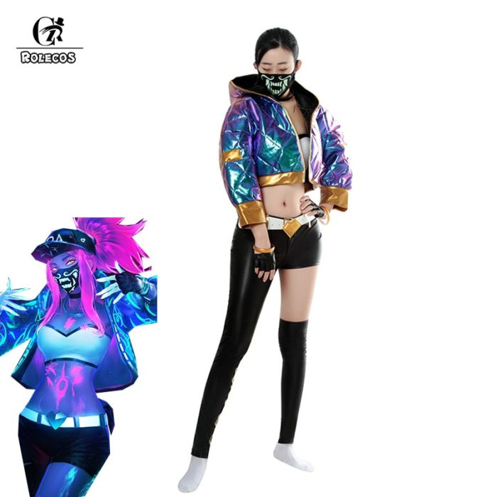 ROLECOS Game LOL KDA Akali Cosplay Costume Akali Cosplay Coat LOL KDA Cosplay Uniform Warm Winter Costume for Women 1