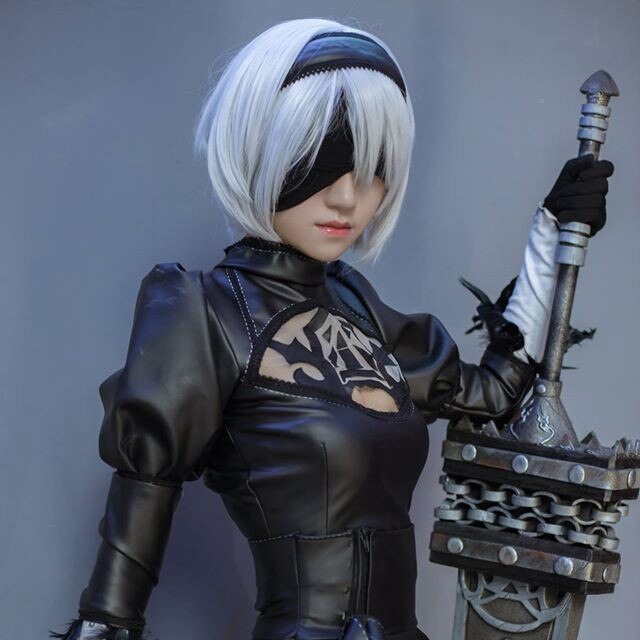 High quality YoRHa No.2 Type B 2BYoRH 2A 9S 2B wig Cosplay Wig NieR:Automata Costume Play Wigs Costumes Hair +Wig Cap 6