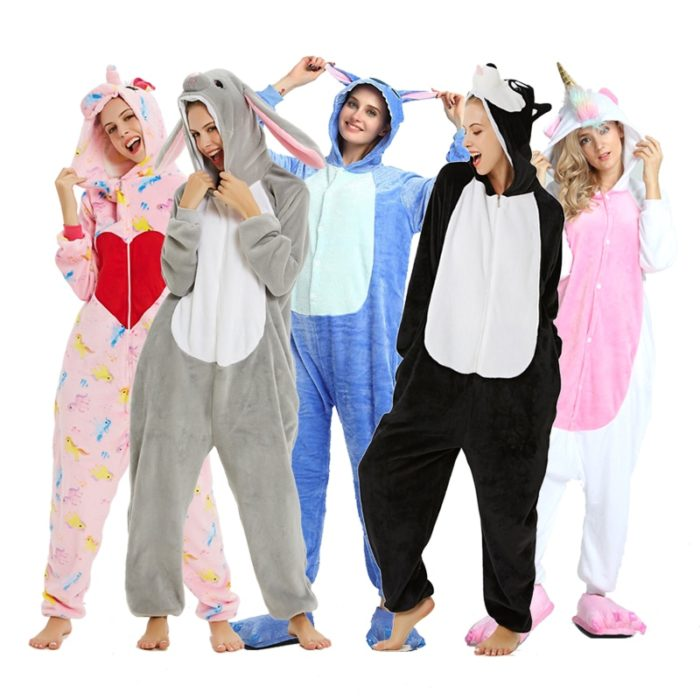 New Winter Women Men Unisex Adult Cute Cartoon Onesie Animal Pajamas unicornio Unicorn Stitch Kigurumi Flannel Nightie Sleepwear 1