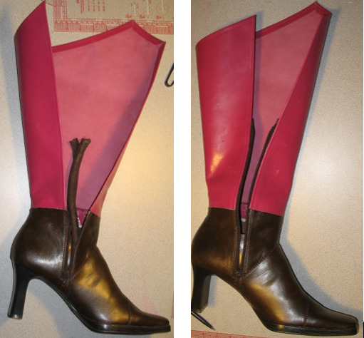 Glue the new shafts to the cosplay boots