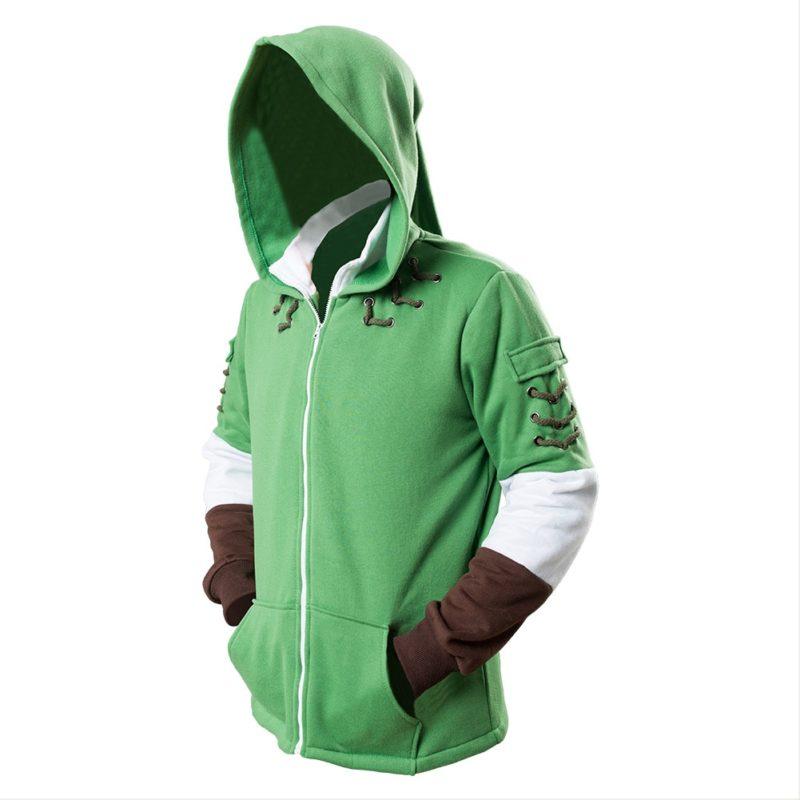 The Legend of Zelda Hoodies Lind Green Hooded Zip-up Sweatshirt Cotton Long Sleeve Coat Cosplay Costume New Arrival 5
