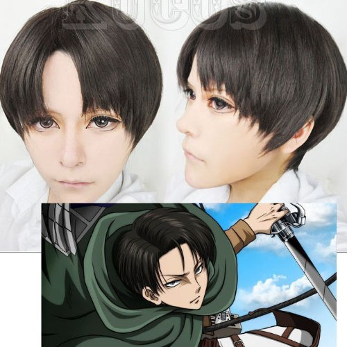 Attack on Titan Levi Ackerman Short Mixed Black Brown Heat Resistant Hair Cosplay Costume Wig + Free Wig Cap 1