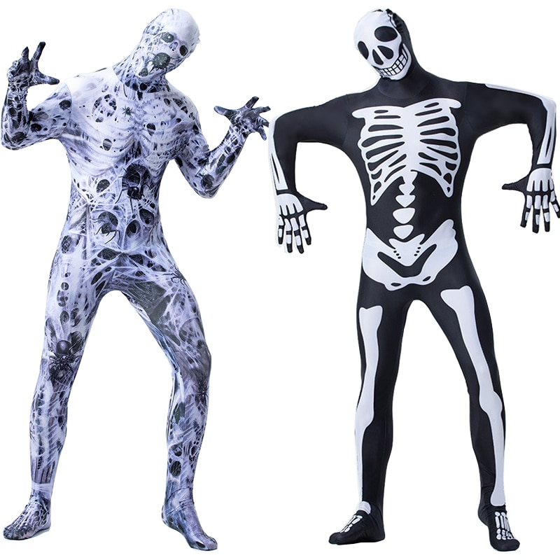 Horror Mummy Zombie Costume Cosplay Halloween Costume for Men Skeleton Jumpsuit Carnival Party Dress Up 1