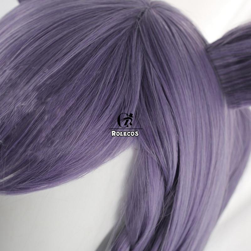 ROLECOS Genshin Impact Cosplay Wig Keqing Cosplay Wig Women Purple 80cm Headwear Halloween Long Double Ponytail Heat Resistant 3