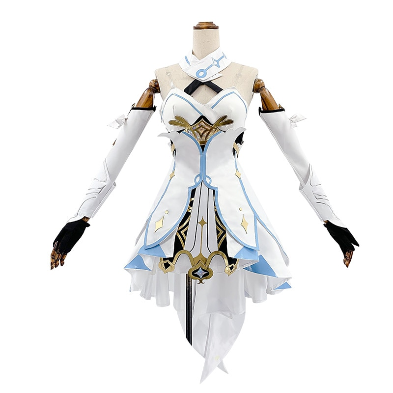 Genshin Impact cosplay 2020 New Game Project Cosplay Costume Anime Traveler Dress Belt Gloves Accessories Set Women Clothes S-XL 2