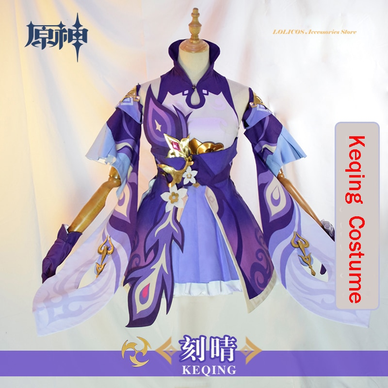 New Anime Game Genshin Impact Keqing Cosplay Costume Outfit Adult Men Woman Uniform Party Dress Halloween Carnival Full Set 2