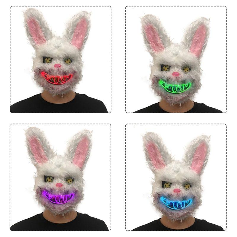 Bunny Rabbit Mask Halloween Party Plush Bunny Creepy Scary Mask Halloween Horror Mask Fancy Dress Decor Cosplay New Arrivals 3