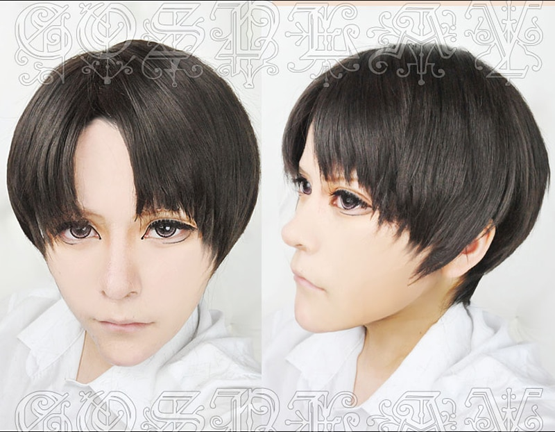 Attack on Titan Levi Ackerman Short Mixed Black Brown Heat Resistant Hair Cosplay Costume Wig + Free Wig Cap 2