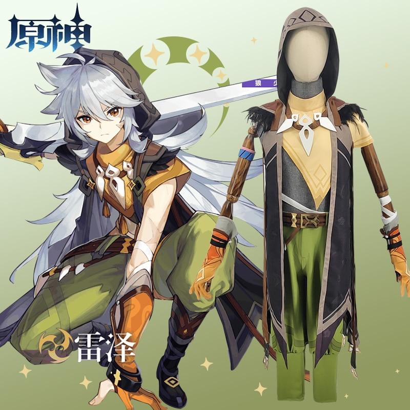 Game Genshin Impact Running Wolf RAZOR Cosplay Costume Anime Fancy Outfits Full Set Halloween Carnival Uniforms Custom Made 2