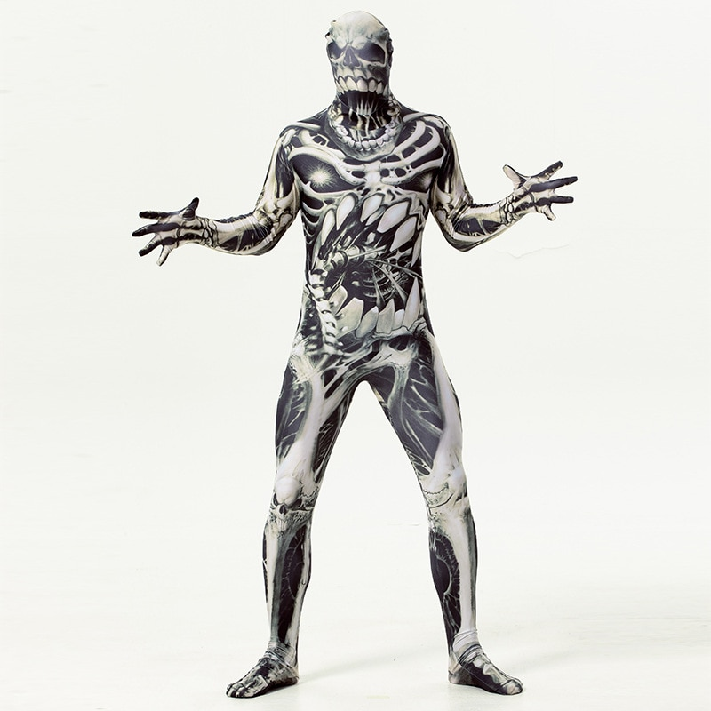 Horror Mummy Zombie Costume Cosplay Halloween Costume for Men Skeleton Jumpsuit Carnival Party Dress Up 5