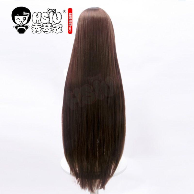 HSIU game Genshin Impact cosplay Amber wig dark brown long hair + Free brand wig net 4