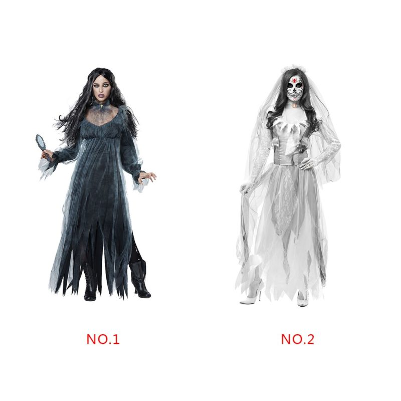 Women Cosplay Halloween Costume Horror Ghost Dead Corpse Zombie Bride Dress 6