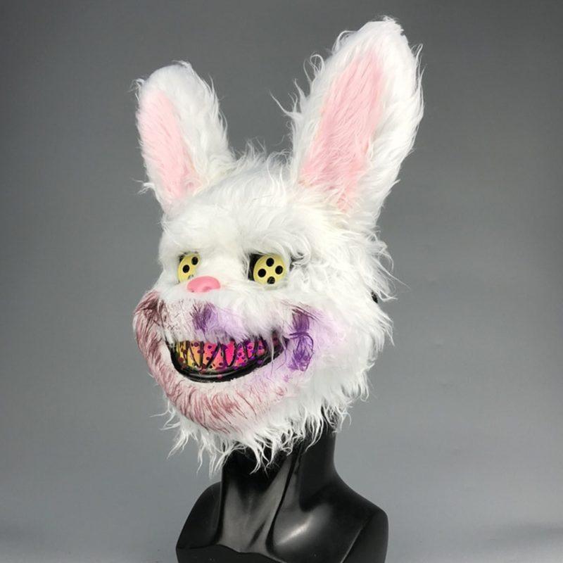 Bunny Rabbit Mask Halloween Party Plush Bunny Creepy Scary Mask Halloween Horror Mask Fancy Dress Decor Cosplay New Arrivals 6