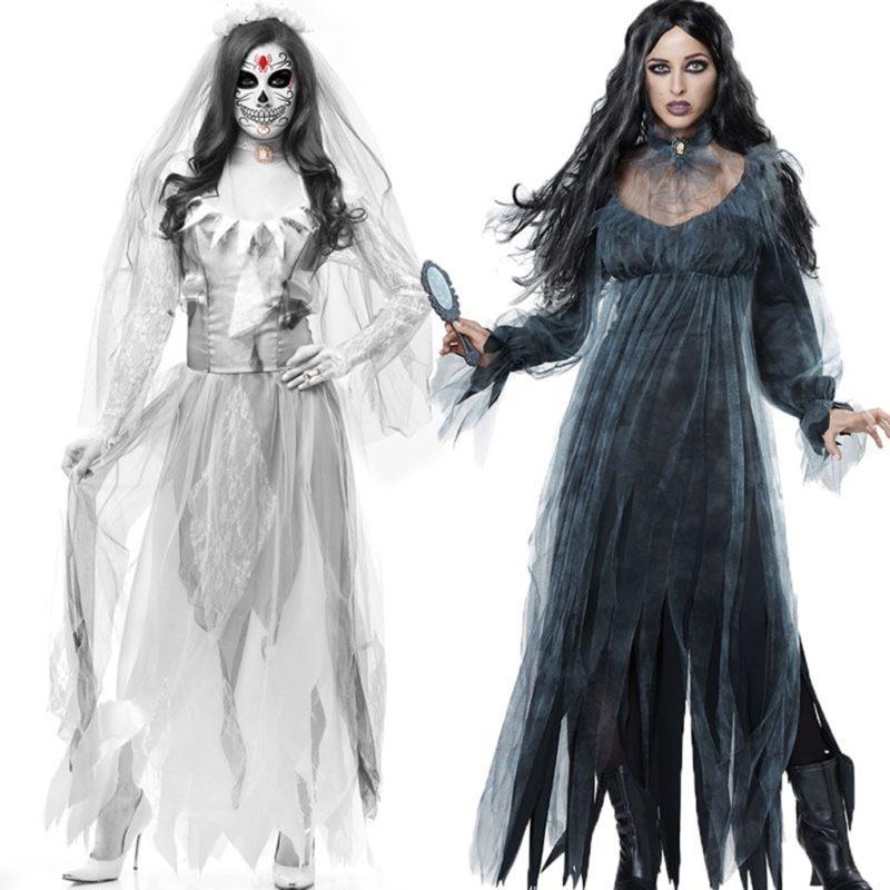 Women Cosplay Halloween Costume Horror Ghost Dead Corpse Zombie Bride Dress 1