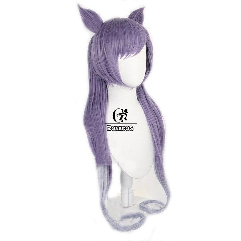 ROLECOS Genshin Impact Cosplay Wig Keqing Cosplay Wig Women Purple 80cm Headwear Halloween Long Double Ponytail Heat Resistant 2