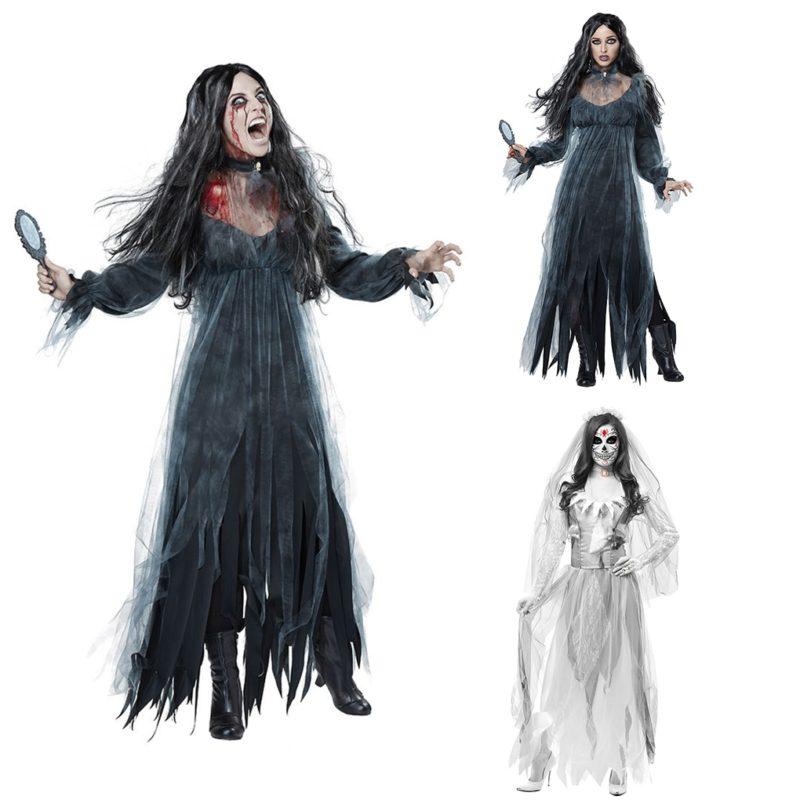 Women Cosplay Halloween Costume Horror Ghost Dead Corpse Zombie Bride Dress 4