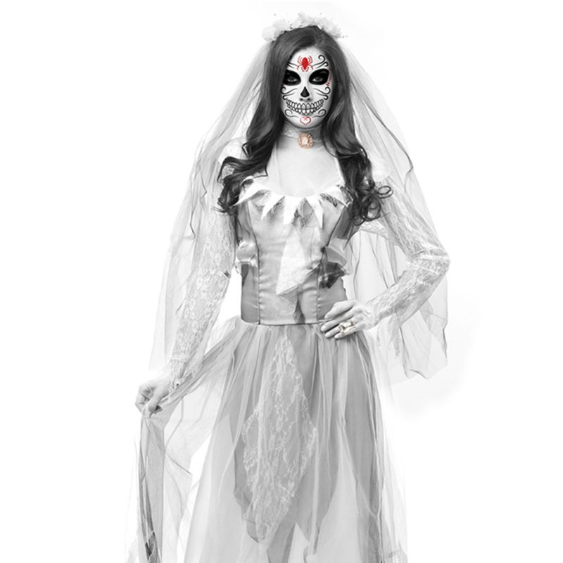 Women Cosplay Halloween Costume Horror Ghost Dead Corpse Zombie Bride Dress 3