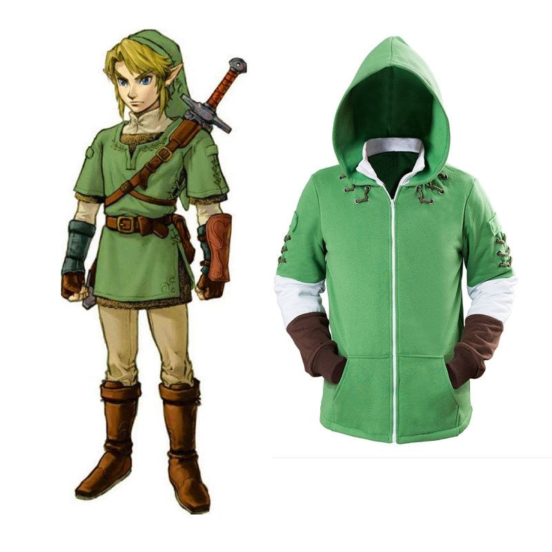 The Legend of Zelda Hoodies Lind Green Hooded Zip-up Sweatshirt Cotton Long Sleeve Coat Cosplay Costume New Arrival 1