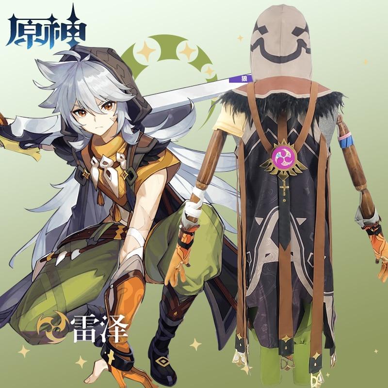 Game Genshin Impact Running Wolf RAZOR Cosplay Costume Anime Fancy Outfits Full Set Halloween Carnival Uniforms Custom Made 4