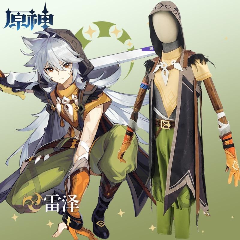 Game Genshin Impact Running Wolf RAZOR Cosplay Costume Anime Fancy Outfits Full Set Halloween Carnival Uniforms Custom Made 3