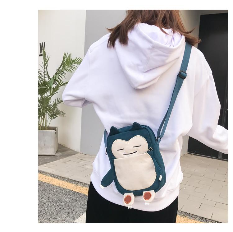 Anime Pikachu Cute Shoulder bag Snorlax handbag Cosplay Pikachu Pocket Cartoon Messenger bag For kids children Adult New Arrival 6