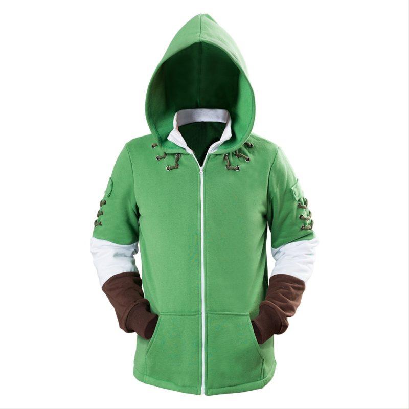 The Legend of Zelda Hoodies Lind Green Hooded Zip-up Sweatshirt Cotton Long Sleeve Coat Cosplay Costume New Arrival 2