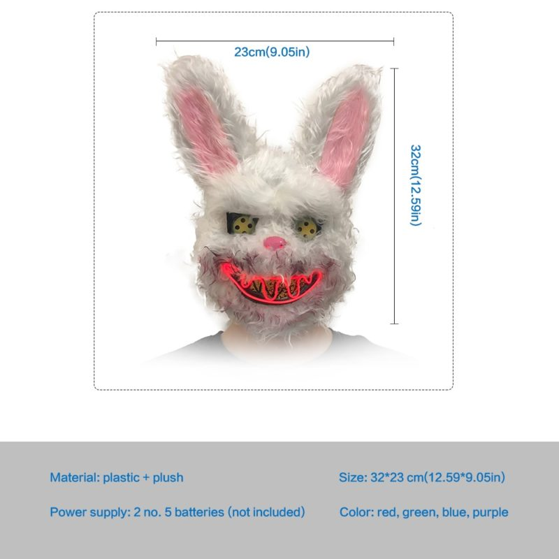 Bunny Rabbit Mask Halloween Party Plush Bunny Creepy Scary Mask Halloween Horror Mask Fancy Dress Decor Cosplay New Arrivals 4