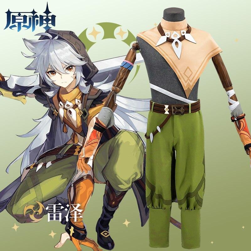 Game Genshin Impact Running Wolf RAZOR Cosplay Costume Anime Fancy Outfits Full Set Halloween Carnival Uniforms Custom Made 5