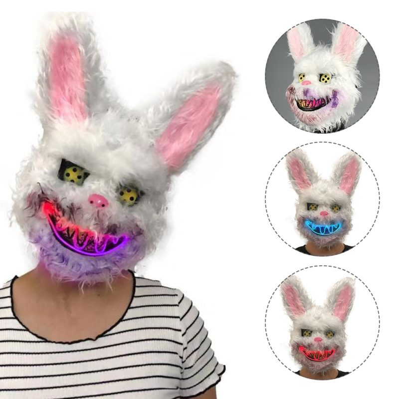 Bunny Rabbit Mask Halloween Party Plush Bunny Creepy Scary Mask Halloween Horror Mask Fancy Dress Decor Cosplay New Arrivals 1