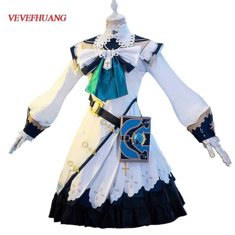 VEVEFHUANG Kосплей Genshin Impact Barbara Cosplay Costume Uniform Outfit Women Party Princess Dress Game Halloween Xmas Carnival 1