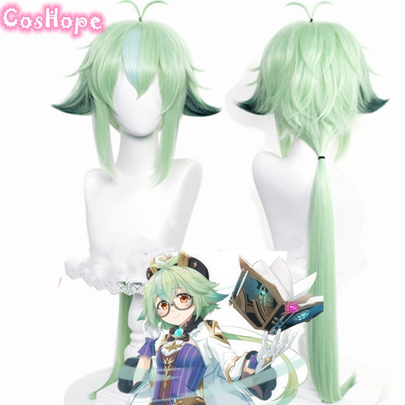 Genshin Impact Sucrose Cosplay 85cm Long Wig Green Apple Wig Cosplay Anime Cosplay Wigs Heat Resistant Synthetic Wigs Halloween 1