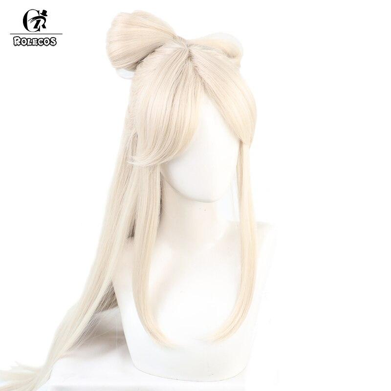 ROLECOS Game Genshin Impact Cosplay Wig Ningguang Cosplay Wig Women Brige Headwear 120CM Straight Synthetic Hair Heat Resistant 2
