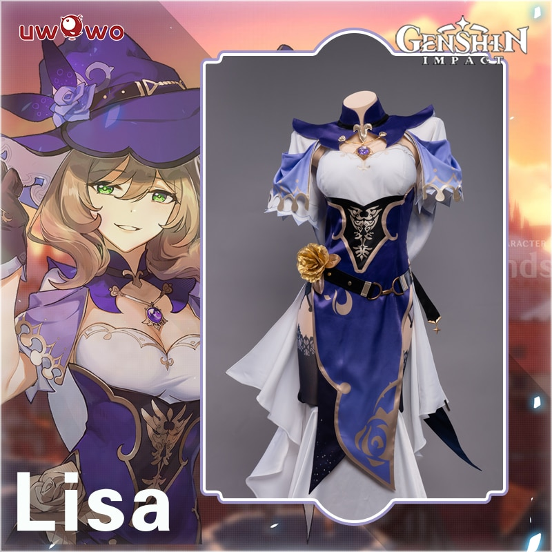 Pre-sale UWOWO Game Genshin Impact Lisa Witch of Purple Rose Cosplay Costume The Librarian Sexy Dress 1