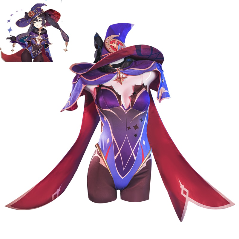 Game Genshin Impact MONA Cosplay Costume Women Sexy Jumpsuit with Hat Female Role Play Clothing Halloween Uniforms Custom Made 1