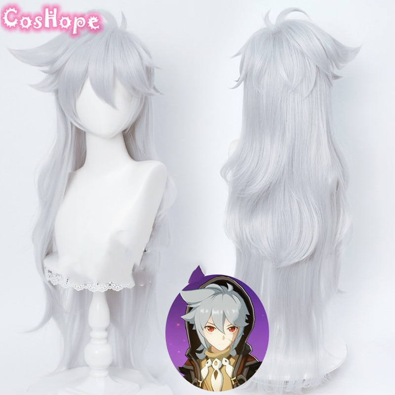 Genshin Impact Razor Cosplay 100cm Christmas Silver Gray Wig Cosplay Anime Cosplay Wigs Heat Resistant Synthetic Wigs Halloween 1