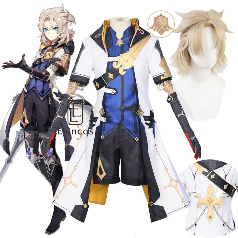 Game Genshin Impact Albedo Cosplay Costume Wigs Anime Uniforms Halloween Carnival Outfits Custom Made Men Costumes 1